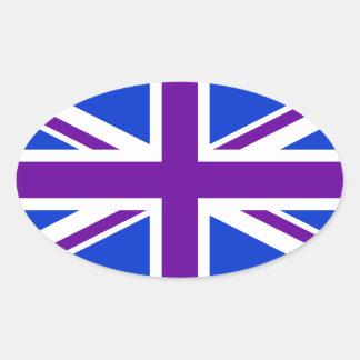Blue Purple Union Jack Oval Sticker