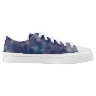 Blue Purple Unique Cool Chic Printed Shoes