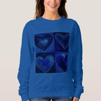 Blue Purple Watercolor Art Heart Love Sweatshirt