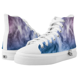 Blue purple white abstract heavenly clouds high tops