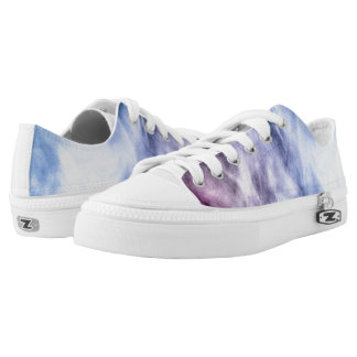 Blue purple white abstract heavenly clouds printed shoes