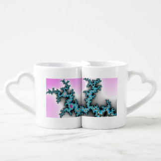 Blue Purple White Abstract Lightening Coffee Mug Set