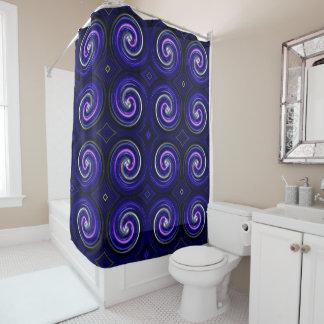 Blue Purple White Abstract Swirl Pattern Shower Curtain