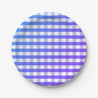 Blue purple white gingham paper plate
