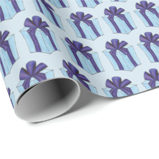 Blue Purple Wrapped Birthday Holiday Gift Present Wrapping Paper