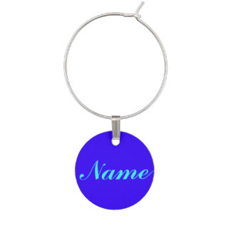 Blue Purple Your Name wine charm tag label