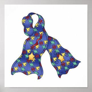Blue Puzzle Autism Aspergers Awareness Ribbon Poster
