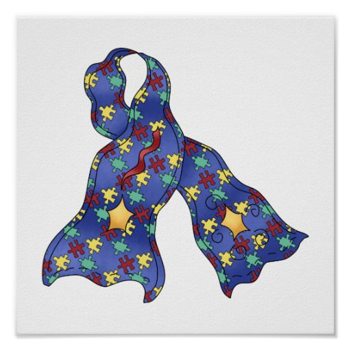 Blue Puzzle Autism Aspergers Awareness Ribbon Poster