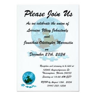 blue puzzle globe pieces fall out eco graphic.png 13 cm x 18 cm invitation card