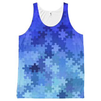 Blue Puzzle All-Over Print Tank Top