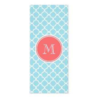 Blue Quatrefoil Pattern, Coral Monogram 10 Cm X 24 Cm Invitation Card