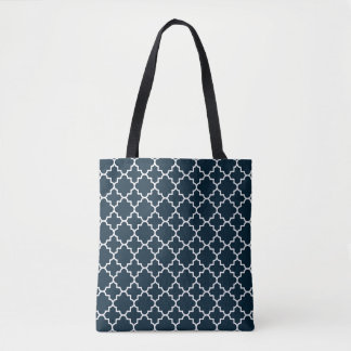Blue Quatrefoil Pattern Reusable Tote