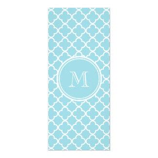 "Blue Quatrefoil Pattern, Your Monogram 4"" X 9.25"" Invitation Card"