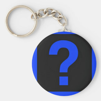 Blue Question Mark Information Area Basic Round Button Key Ring