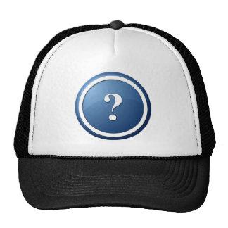 blue question mark round button trucker hats