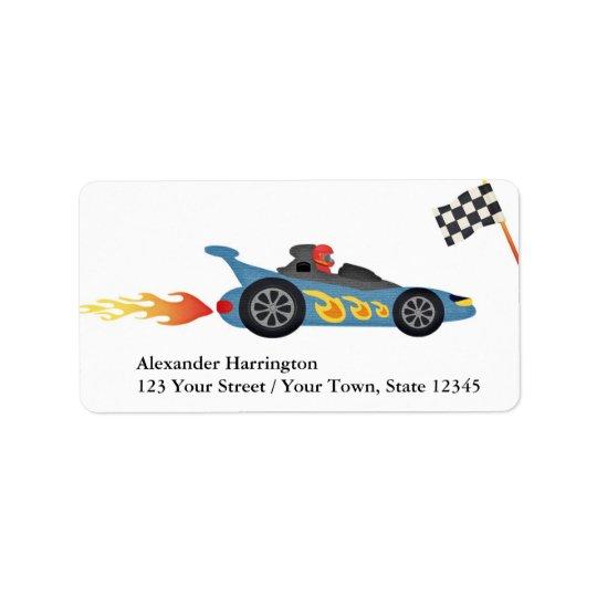 Blue Race Car Address Label