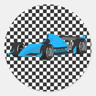 Blue Race Car Birthday Sticker