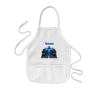 Blue Race Car Smock Apron