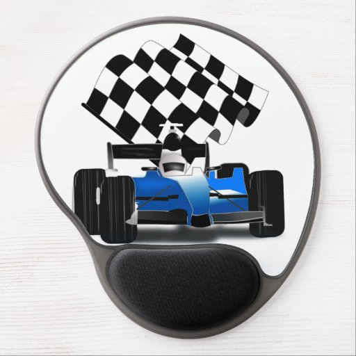 Blue Race Car with Checkered Flag Gel Mousepad