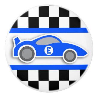 Blue racing car monogram flag graphic doorknob ceramic knob