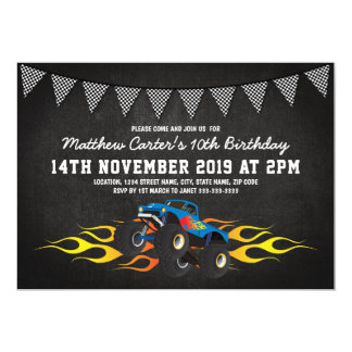 Blue Racing Truck Bunting Birthday Party Card