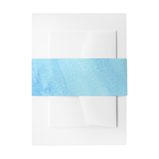 Blue Rain Storm Water Watercolor Paint Invitation Belly Band