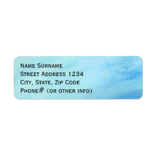 Blue Rain Storm Water Watercolor Paint Return Address Label