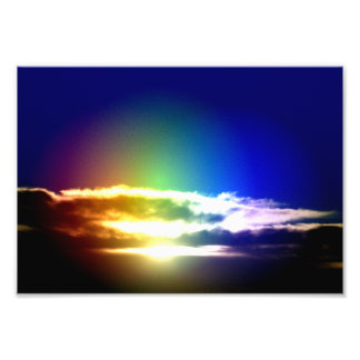 Blue Rainbow Sunset Sky Art Photo