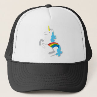 Blue rainbow unicorn trucker hat