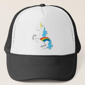 Blue rainbow unicorn trucker hat
