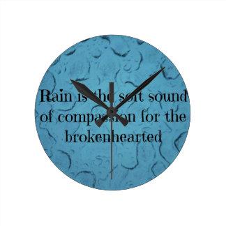Blue Raindrop Brokenhearted Compassion Quote Round Clock
