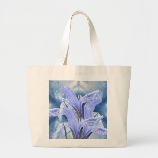 Blue raindrop Iris Large Tote Bag