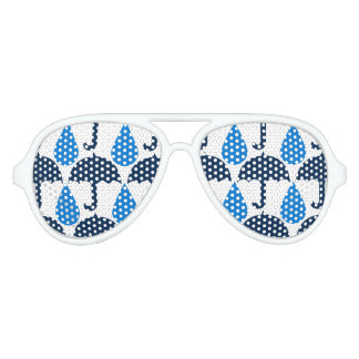 Blue Raindrops and Umbrellas Rainy Day Pattern Aviator Sunglasses