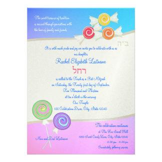 Blue Raspberry Candy Bat Mitzvah Personalized Invitation