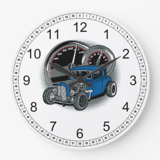 Blue Rat Rod Street Car Large Clock