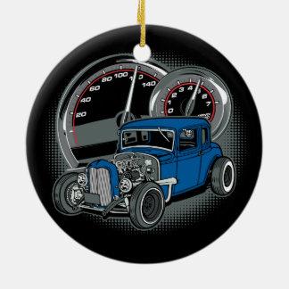 Blue Rat Rod Street Car Round Ceramic Decoration