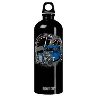 Blue Rat Rod Street Car Water Bottle