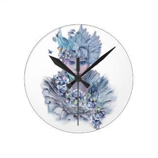 Blue Raven Round Clock