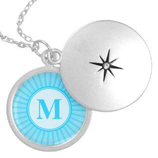 Blue Rays of Light Monogram Round Locket Necklace