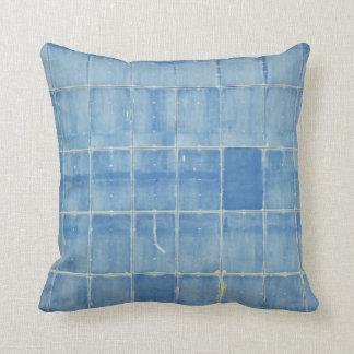 Blue rectangle abstract throw pillow