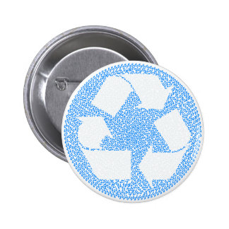 Blue Recycle 6 Cm Round Badge