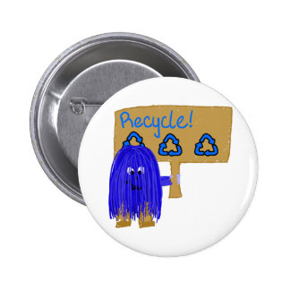 Blue Recycle sign Pin