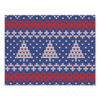 Blue  Red and White Christmas Tree Knitted Pattern Photograph