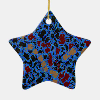 BLUE Red Brown Sparkle Abstract Wave Pattern ART Double-Sided Star Ceramic Christmas Ornament