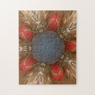 Blue Red Christmas Decoration Baubles Jigsaw Puzzle