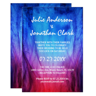 Blue & Red Fire Flames Wedding Invitation Template