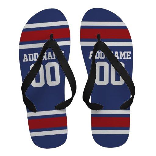 Blue Red Football Jersey Custom Name Number Flip-Flops