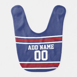 Blue Red Football Jersey Custom Name Number Baby Bib