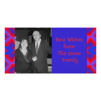 blue red fractal personalized photo card