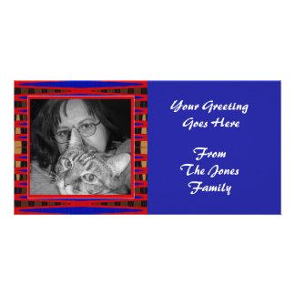 blue red frame custom photo card
